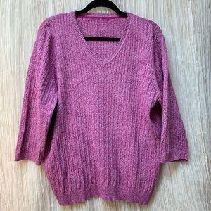Kim Rogers Marled Magenta Sweater